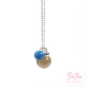 BaBa jewellery for happiness lange Silberkette mit Rauchquarz und Blau