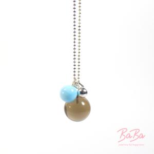 BaBa jewellery for happiness lange Silberkette mit Rauchquarz und Hellblau