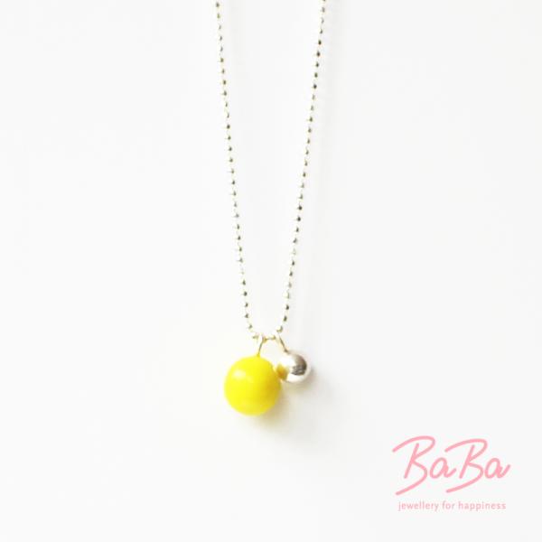 BaBa Sphere kurze Silberkette mit zwei Kugeln gelb und Silber