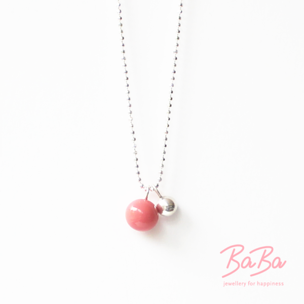 BaBa jewellery for happiness kurze Silberkette mit rosafarbener Glasperle
