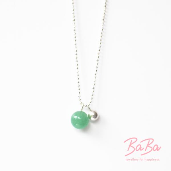 BaBa jewellery for happineBaBa jewellery for happiness kurze Silberkette mit Aventurinss Baba Sphere/Aventurin