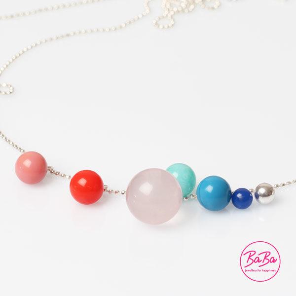 lange Silberkette mit Rosenquarz KugelBaBa jewellery