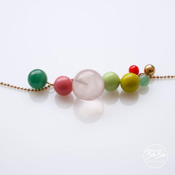 BaBa Sphere lange Kette mit farbigen Kugel Anhängern