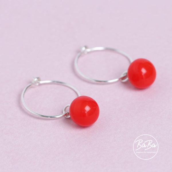 Silber Ohrringe mit Glaskugeln rot 100 BaBa jewellery