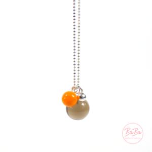 BaBa jewellery lange Silberkette mit Rauchquarz und Orange