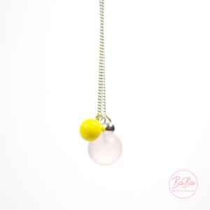 BaBa jewellery lange Silberkette mit Rosenquarz und Gelb