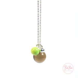 BaBa jewellery lange Silberkette mit Rauchquarz Kugel und Grün