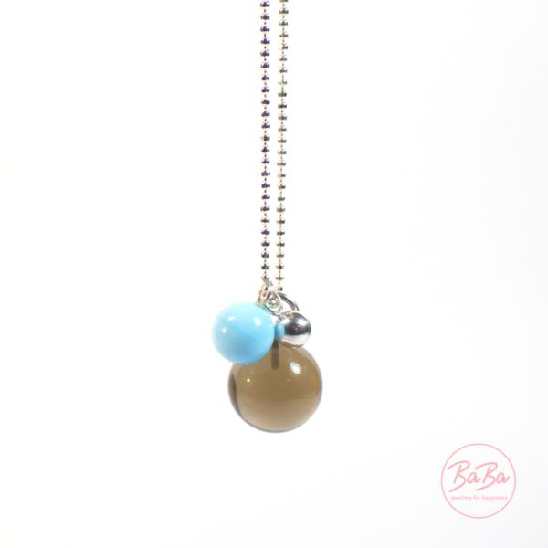 BaBa jewellery lange Silberkette mit Rauchquarz Kugel und Hellblau