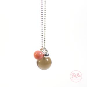 BaBa jewellery lange Silberkette mit Rauchquarz und Rosa