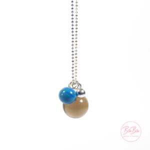 BaBa jewellery lange Silberkette mit Rauchquarz Kugel und Blau