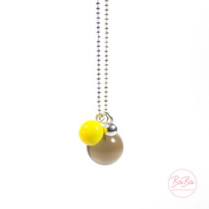 BaBa jewellery lange Silberkette mit Rauchquarz und Gelb
