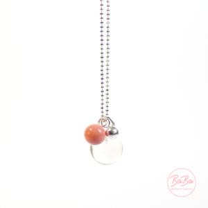 BaBa jewellery lange Silberkette mit Bergkristall und Rosa