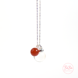 BaBa jewellery lange Silberkette mit Bergkristall Karneol