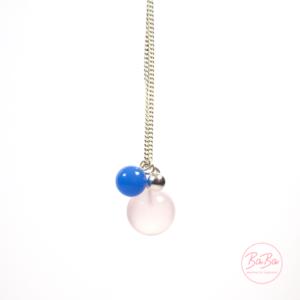 BaBa jewellery Silberkette mit Kugeln Rosenquarz und Achat