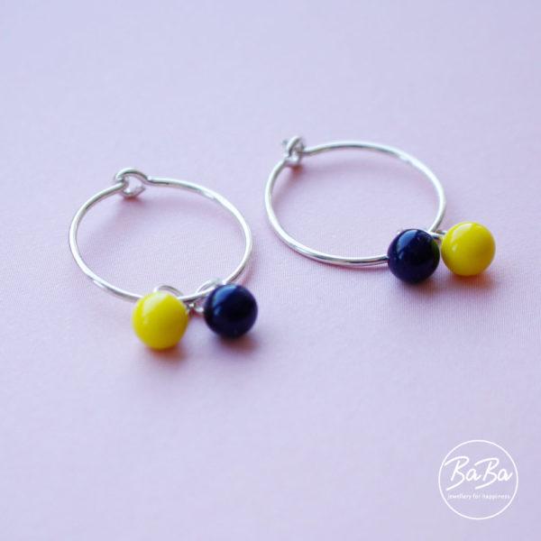Ohrringe mit auswechselbaren Glaskugeln 6mm dunkelblau/ gelb BaBa jewellery for happiness