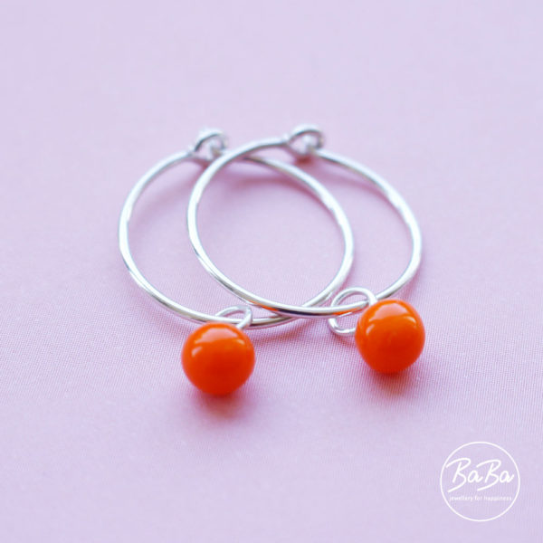 Ohrringe mit auswechselbaren Glaskugeln 6mm orange BaBa jewellery for happiness