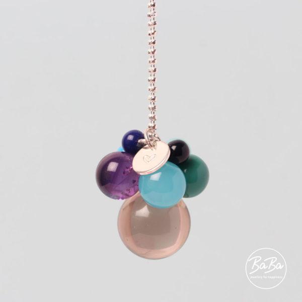 Lange Kette mit Edelstein und Glaskugeln BaBa jewellery for happiness