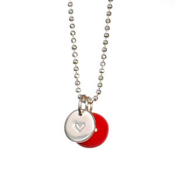 Lange Silberkette Herz und Kugel in verschiedenen Farben BaBa jewellery